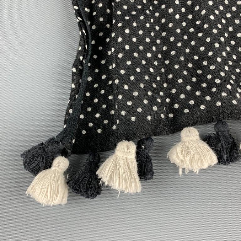 Women's or Men's COMME des GARCONS TRICOT Black & White Polka Dot Tassel Trim Linen Shawl For Sale