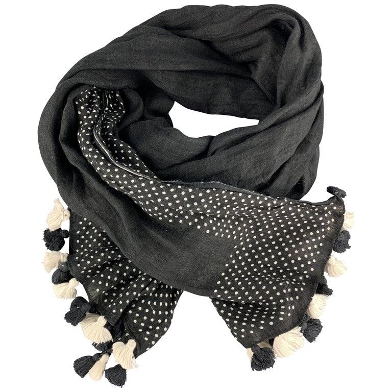 COMME des GARCONS TRICOT Black & White Polka Dot Tassel Trim Linen Shawl For Sale