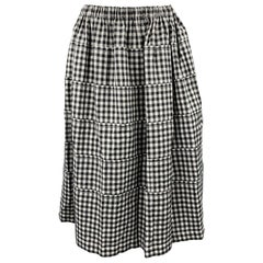 COMME des GARCONS TRICOT Size M Black & White Wool / Linen Circle Skirt