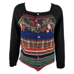 COMME des GARCONS TRICOT Size S Multi-Color Print Cotton Blend Cardigan