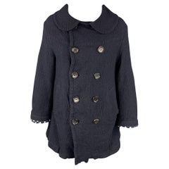 COMME des GARCONS TRICOT Size S Navy Wool Double Breasted Coat
