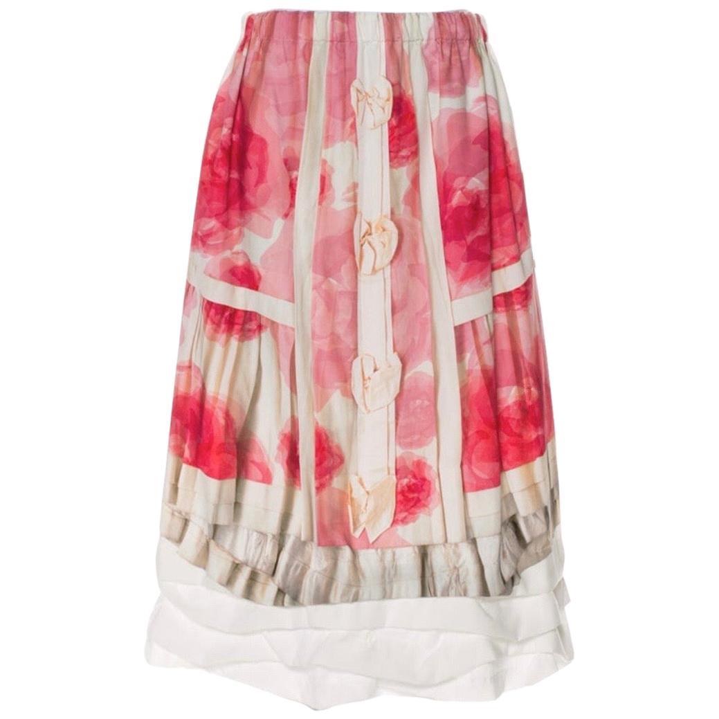 Comme des Garcons Trompe de L'Oeil Floral Print Ruffled Skirt