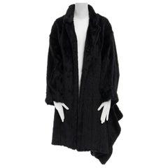 COMME DES GARCONS Vintage 1980s black asymmetric faux fur jacket coat OS