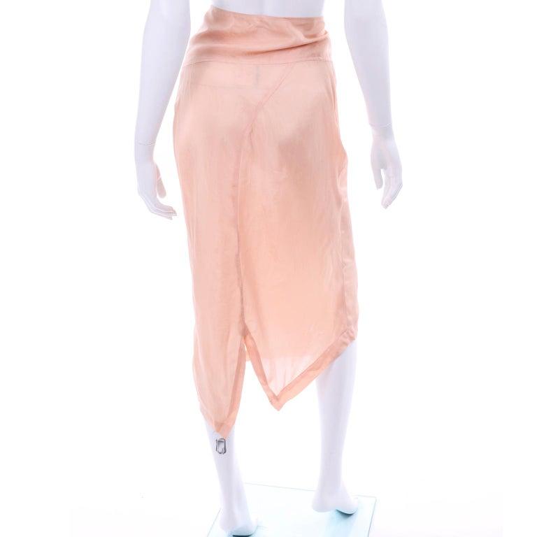 Orange Comme des Garçons Vintage Asymmetrical Peach Rayon Skirt For Sale