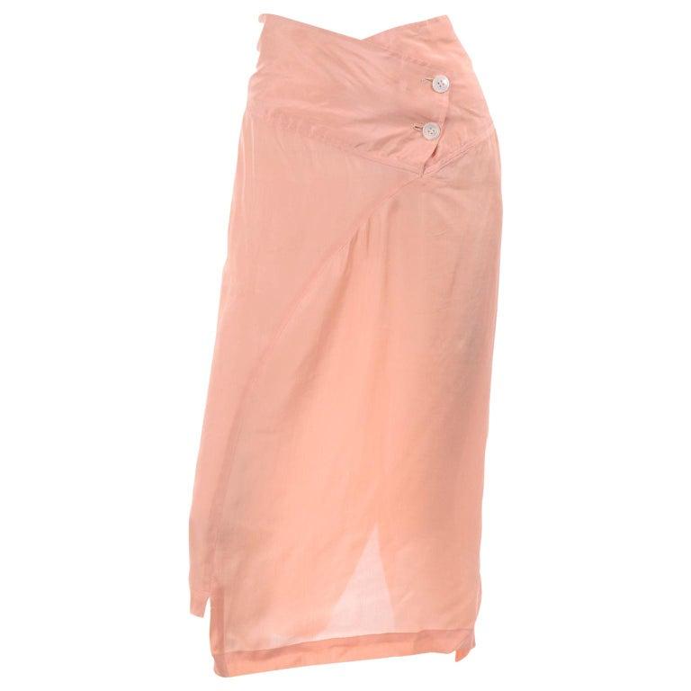 Comme des Garçons Vintage Asymmetrical Peach Rayon Skirt For Sale