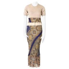 COMME DES GARCONS Vintage AW1993 beige paisley fabric patchwork lace hem dress S