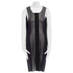 COMME DES GARCONS Vintage AW1993 sheer pinstripe wool panelled raw edge dress M