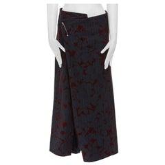 COMME DES GARCONS Vintage AW1996 black pinstripe velvet devore wrap wide short S