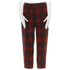 COMME DES GARCONS Vintage red plaid check wool elastic waist wide crop pants 28""