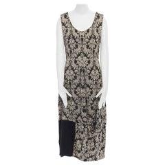 COMME DES GARCONS Vintage SS1993 black baroque floral jacquard pinstripe dress M