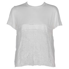 Comme des Garçons White T-shirt with Embroidered Linen