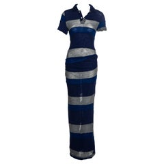 Comme des Garcons wool jersey multi-panelled striped maxi dress, ss 1996
