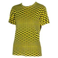 Comme des Garçons Yellow and Black Checkered T-shirt, 2000