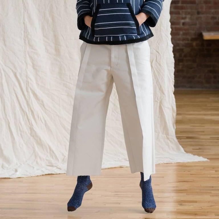 Comme des Garçons Ivory Thick Cotton Gaucho Pants For Sale 2