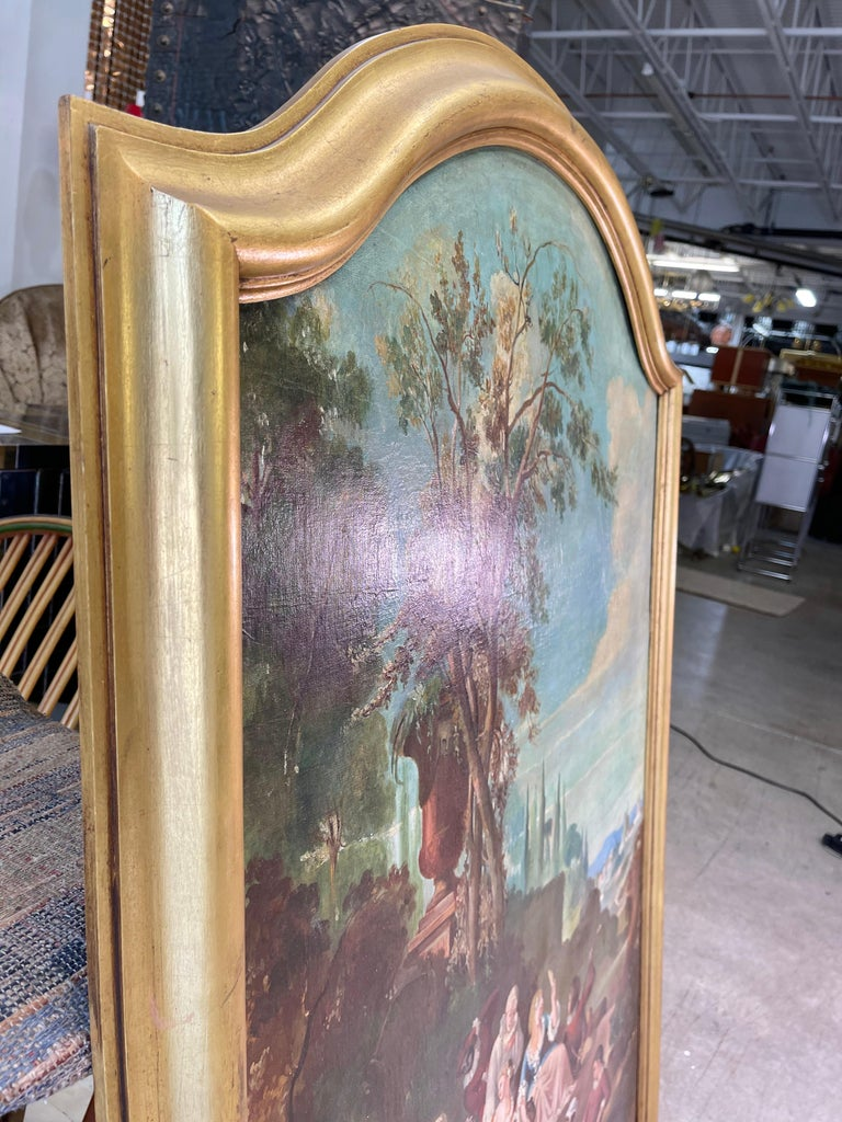 Commedia dell'arte O/C in Giltwood Architectural Frame For Sale 4