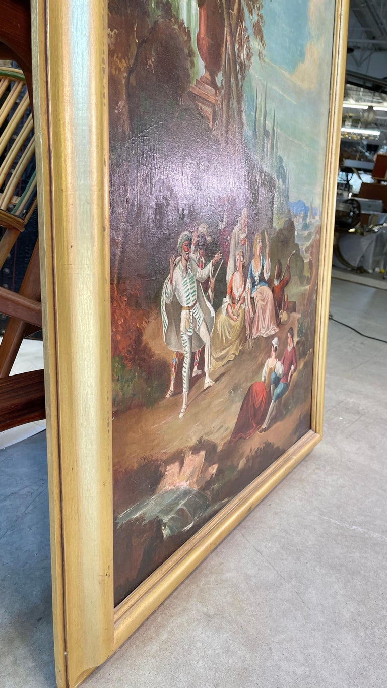 Commedia dell'arte O/C in Giltwood Architectural Frame For Sale 5