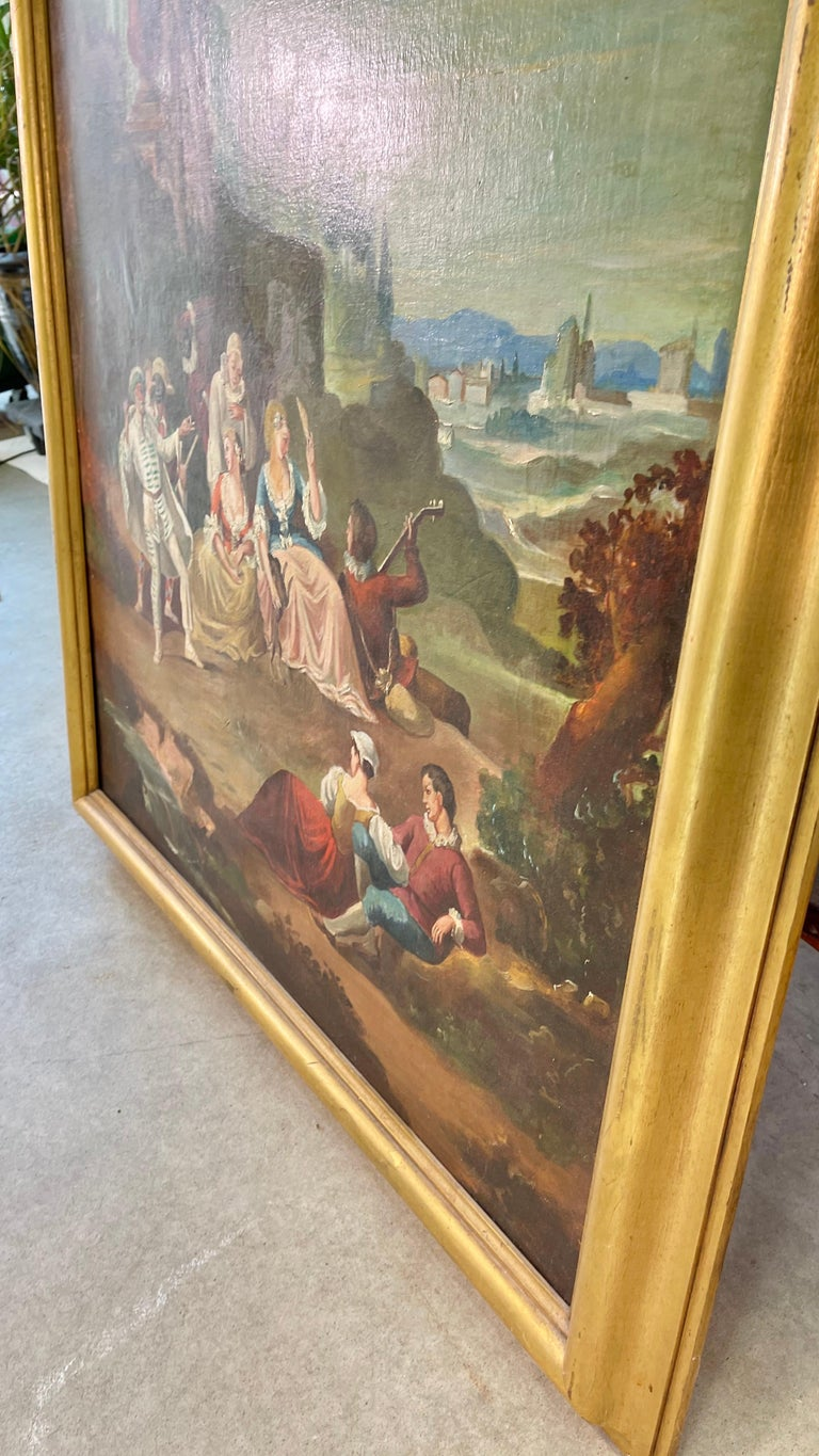 Commedia dell'arte O/C in Giltwood Architectural Frame For Sale 7