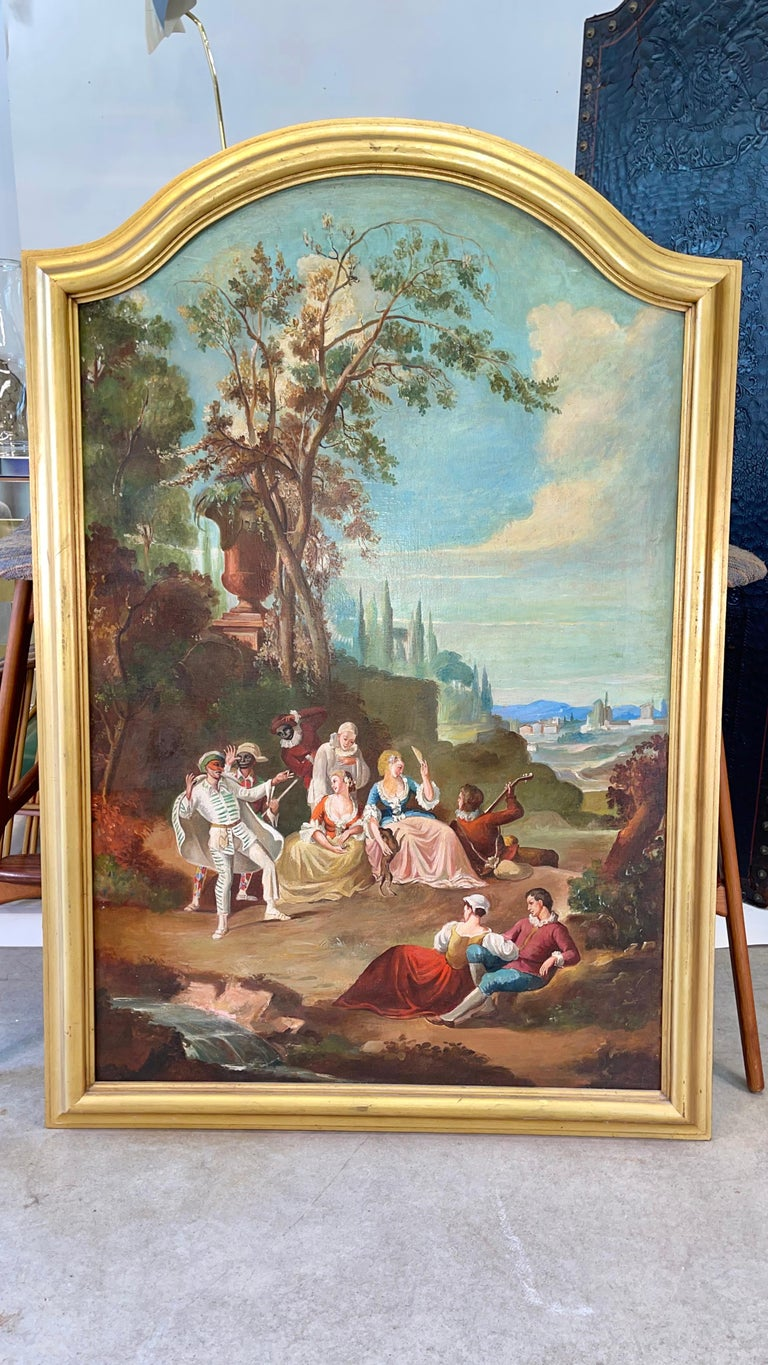 Commedia dell'arte O/C in Giltwood Architectural Frame For Sale 8