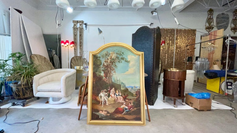Commedia dell'arte O/C in Giltwood Architectural Frame For Sale 9