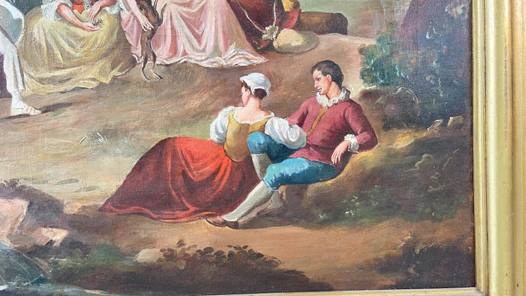 Commedia dell'arte O/C in Giltwood Architectural Frame For Sale 10