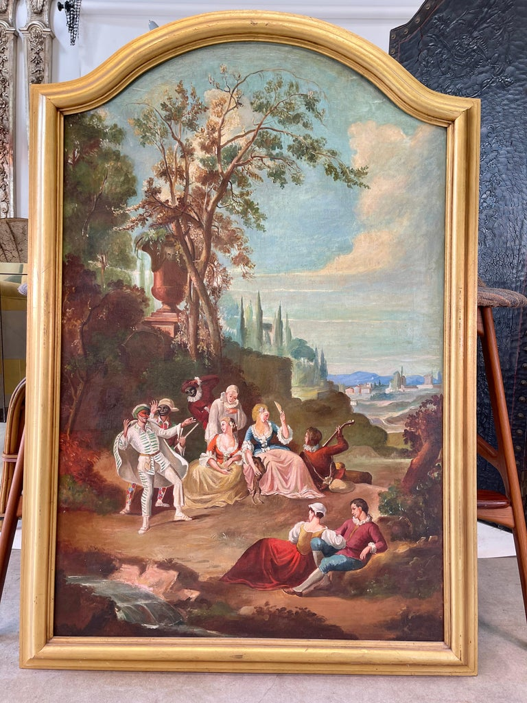 Hollywood Regency Commedia dell'arte O/C in Giltwood Architectural Frame For Sale