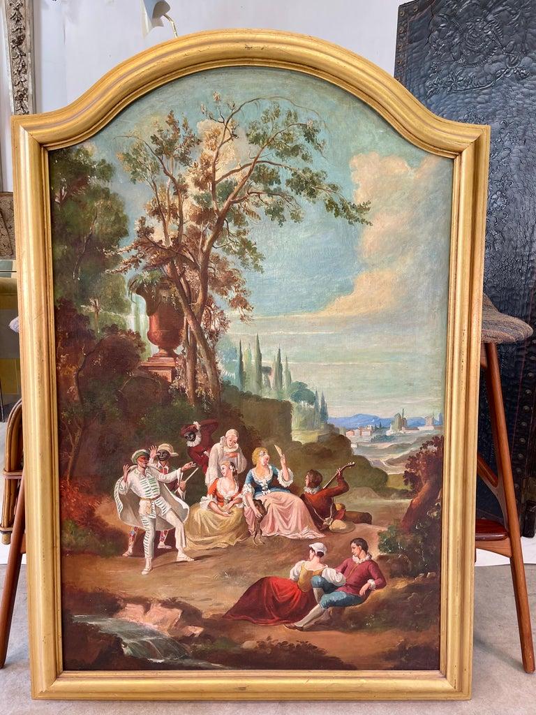 Italian Commedia dell'arte O/C in Giltwood Architectural Frame For Sale