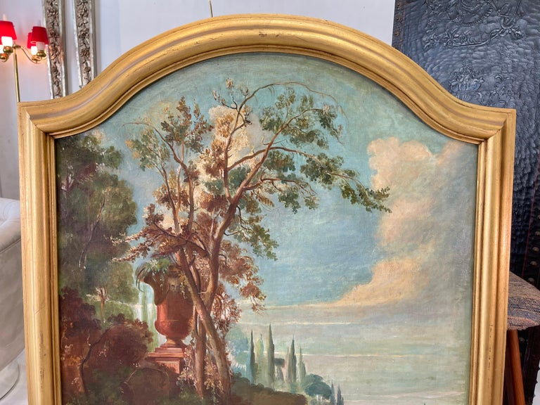 Commedia dell'arte O/C in Giltwood Architectural Frame For Sale 1
