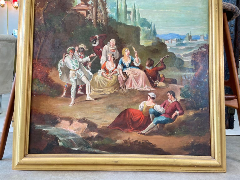 Commedia dell'arte O/C in Giltwood Architectural Frame For Sale 2