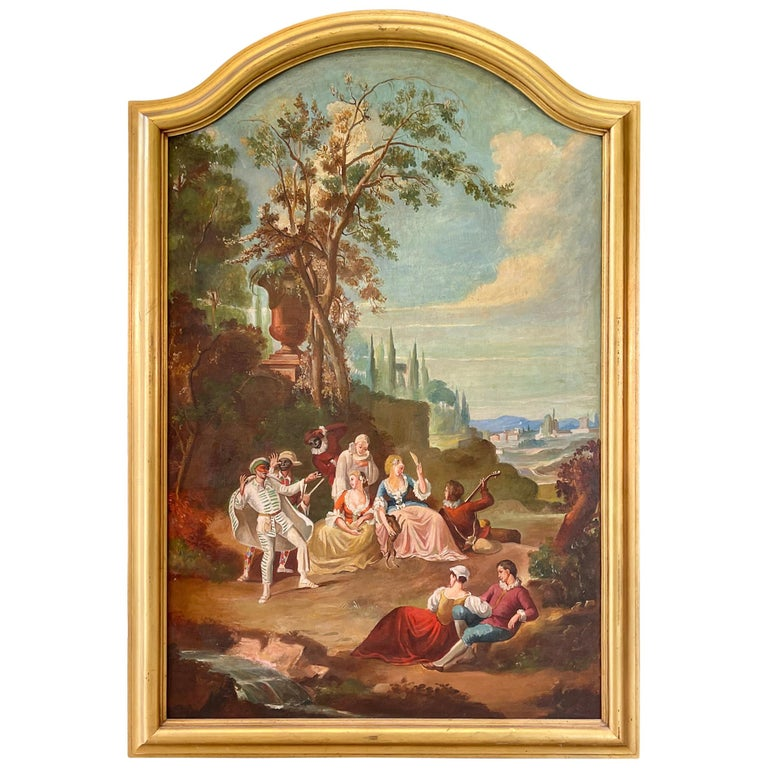 Commedia dell'arte O/C in Giltwood Architectural Frame For Sale