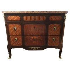 Commode Marble Top with Marquetry and Ormolu Mounts, Louis XV-XVI Style