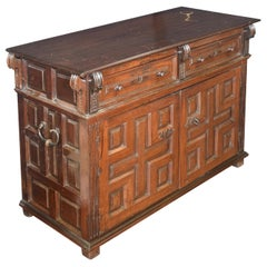 Commode, Taquillón, Walnut, Wrought Iron, Spain, 17th Century