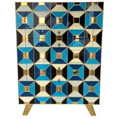 """Commode with Seven Drawers in Tinted Glass Signed """"Martin Studio"""""""