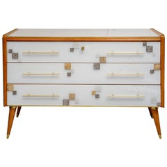 Commode with Three Drawers in Teinted Glass and Applications in Murano Glass