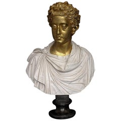 Commodus Marble Bust with Gilt Head, 20th Century