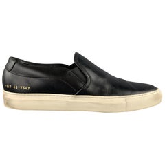 COMMON PROJECTS Size 11 Black & White Leather Slip On Sneakers