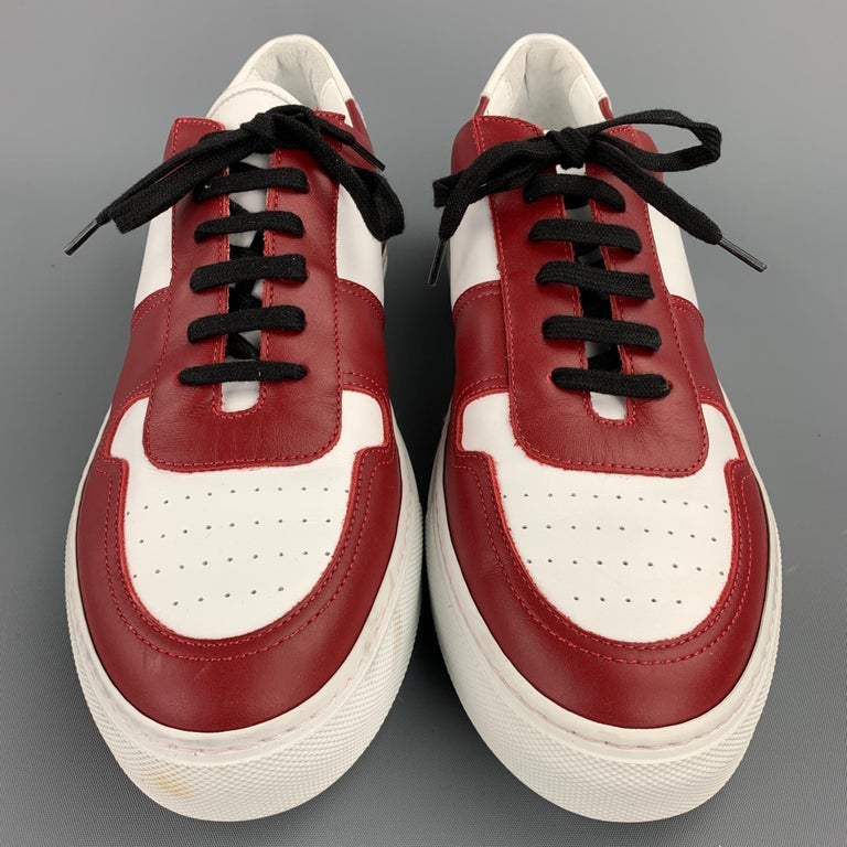 Men's COMMON PROJECTS Size 11 White & Burgundy Color Block Leather Lace Up Sneakers For Sale