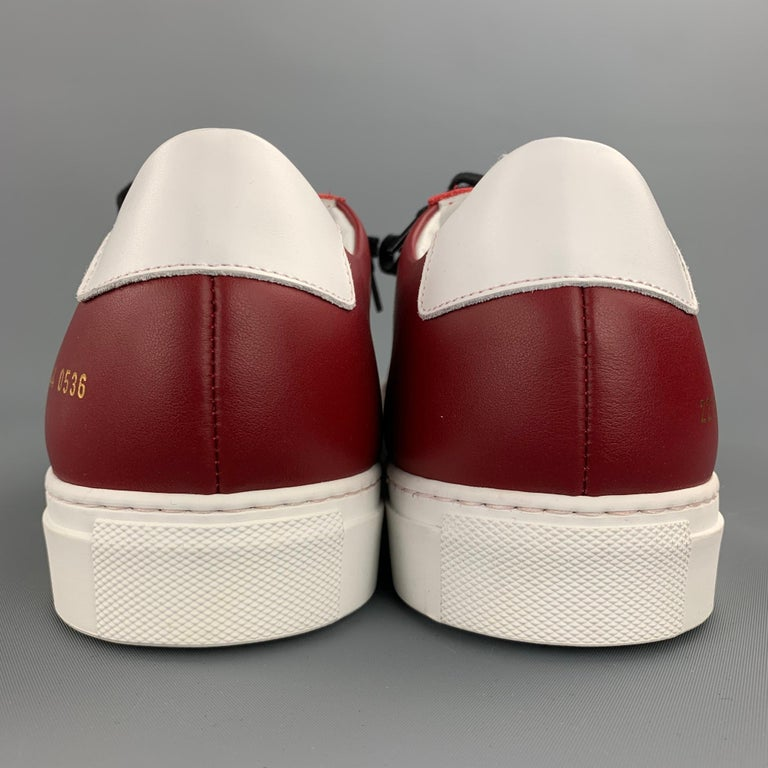 COMMON PROJECTS Size 11 White & Burgundy Color Block Leather Lace Up Sneakers For Sale 1