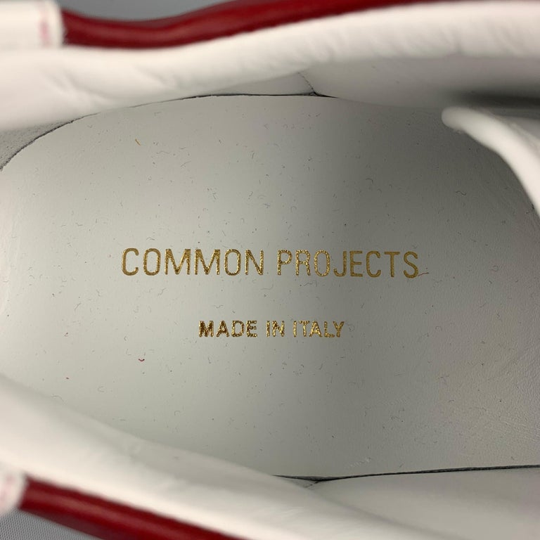 COMMON PROJECTS Size 11 White & Burgundy Color Block Leather Lace Up Sneakers For Sale 2