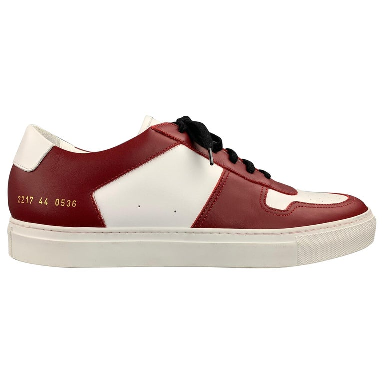 COMMON PROJECTS Size 11 White & Burgundy Color Block Leather Lace Up Sneakers For Sale
