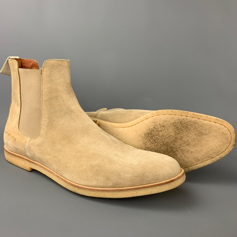 COMMON PROJECTS Size 14 Beige Suede Pull On Chelsea Boots In Good Condition In San Francisco, CA