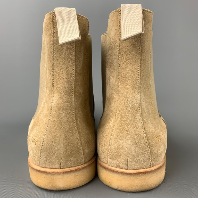 COMMON PROJECTS Size 14 Beige Suede Pull On Chelsea Boots 1
