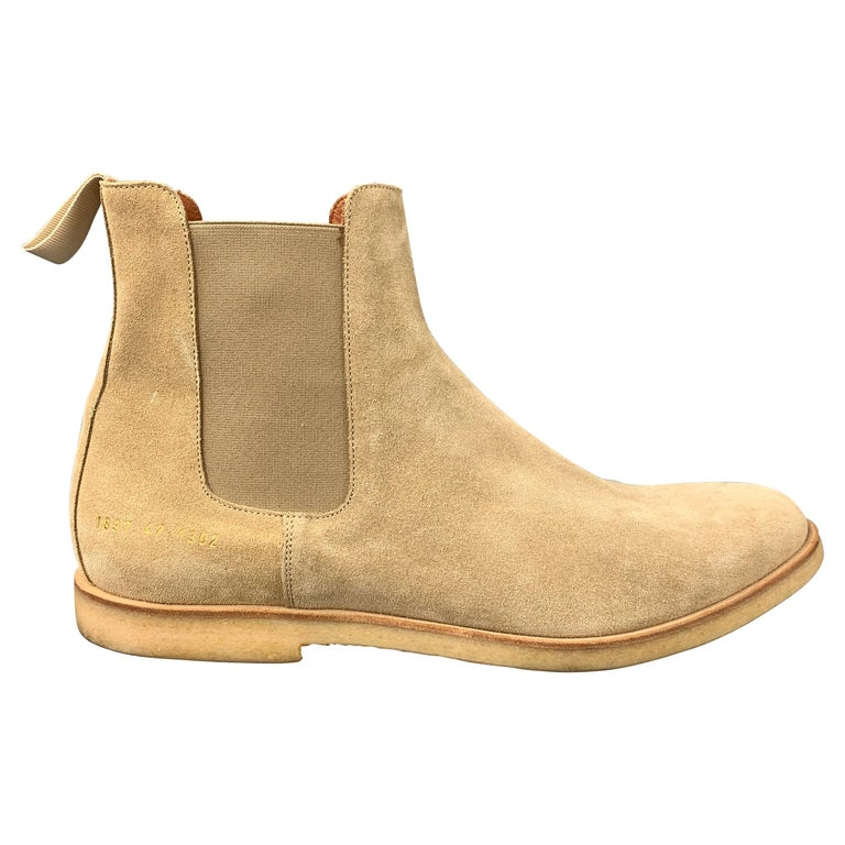 COMMON PROJECTS Size 14 Beige Suede Pull On Chelsea Boots