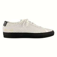 COMMON PROJECTS Size 9 White & Black Perforated Leather Lace Up Sneakers