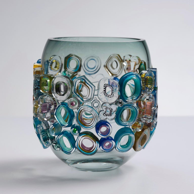 Hand-Crafted Common Ray Blue Green with Green Diamonds, a Unique Glass Vase by Sabine Lintzen For Sale