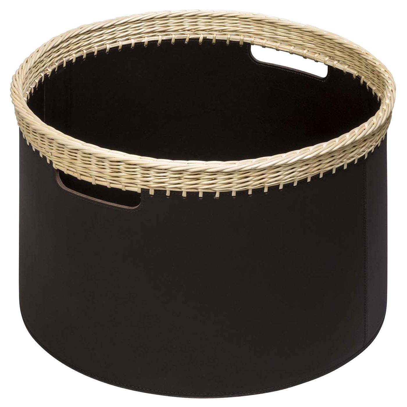 Como Large Round Basket in Black Leather