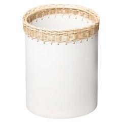 Como Round Bin in White Leather