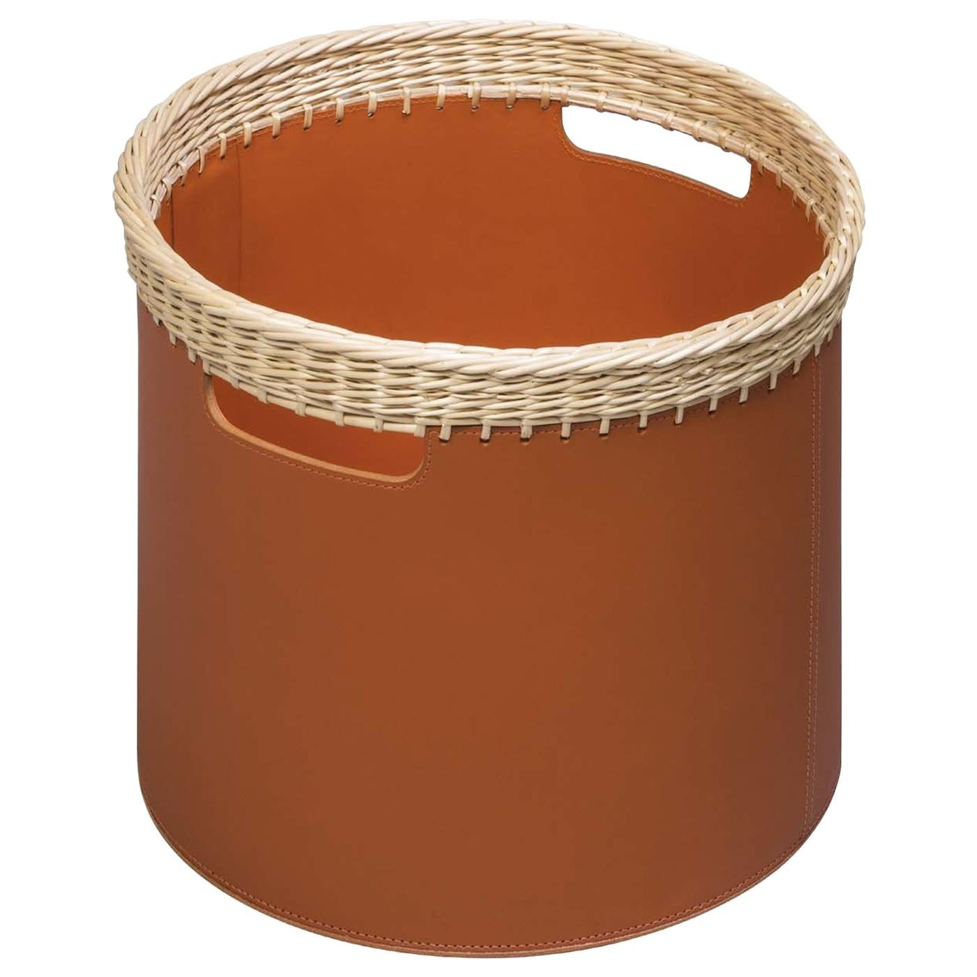 Como Small Round Basket in Cognac Leather