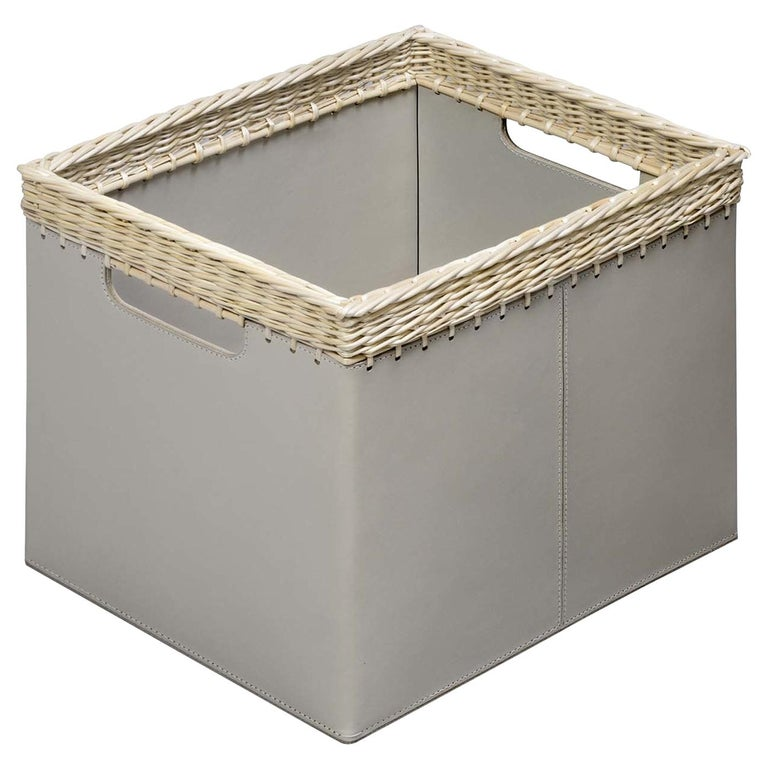 Como Small Square Basket in Ivory Leather For Sale