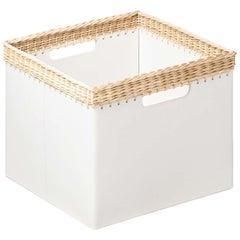 Como Small Square Basket in White Leather