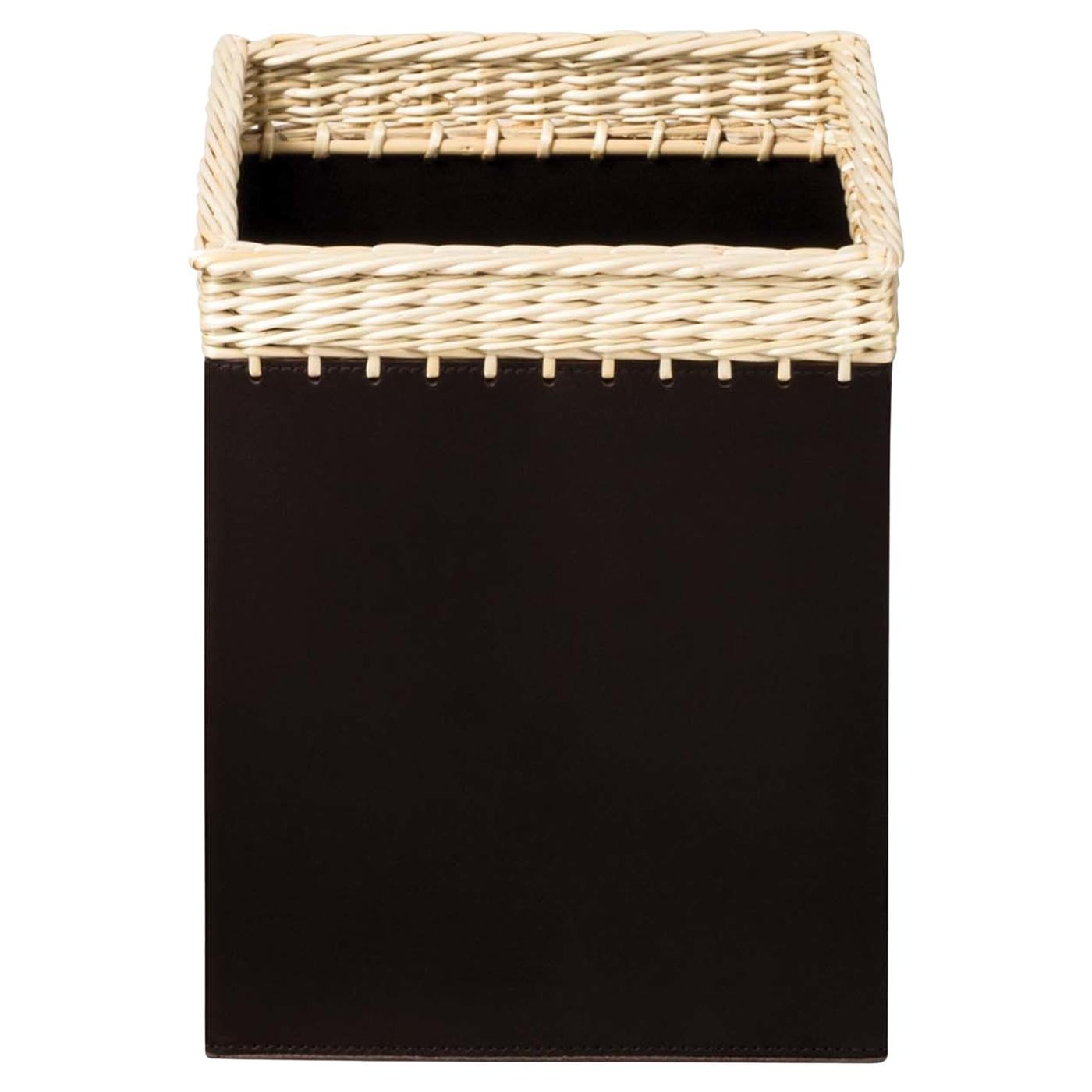 Como Square Bin in Black Leather
